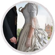Victorian Couple In The Grounds Of A Country House Round Beach Towel
