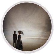 Victorian Couple On The Beach Round Beach Towel