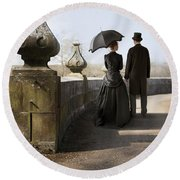 Victorian Couple Walking In The Grounds Round Beach Towel