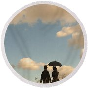 Victorian Couple With Top Hat And Parasol Round Beach Towel