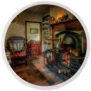 Victorian Fire Place Round Beach Towel by Adrian Evans