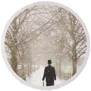 Victorian Gentleman In Snow Round Beach Towel