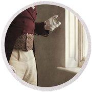 Victorian Gentleman Looking At His Pocket Watch Round Beach Towel