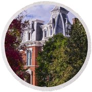 Victorian Home In Autumn Photograph As Gift For The Holidays Print Round Beach Towel