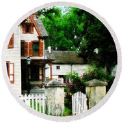 Victorian Home With Open Gate Round Beach Towel