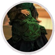 Victorian Lady Expecting A Baby Round Beach Towel by Jill Battaglia