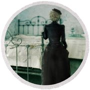 Victorian Lady In A Bedroom Round Beach Towel