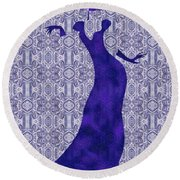 Victorian Lady In Blue Round Beach Towel