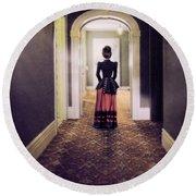 Victorian Lady In Hallway Round Beach Towel