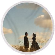 Victorian Man And Woman Round Beach Towel