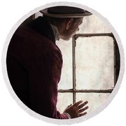 Victorian Man At A Window Round Beach Towel