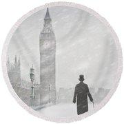 Victorian Man In London With Snow Walking Towards Big Ben Round Beach Towel