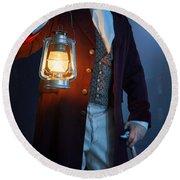 Victorian Man With Lantern At Night Round Beach Towel
