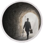 Victorian Man With Top Hat And Case Walking Under A Bridge Round Beach Towel