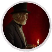 Victorian Man With Top Hat By Candle Light Round Beach Towel