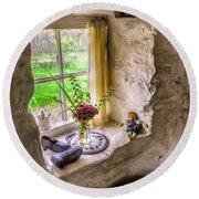 Victorian Window Round Beach Towel by Adrian Evans