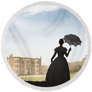 Victorian Woman Approaching A Country Estate Round Beach Towel