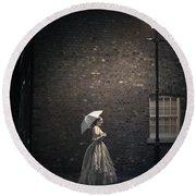 Victorian Woman Beneath A Street Lamp Round Beach Towel