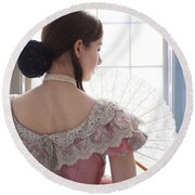 Victorian Woman By A Window Round Beach Towel