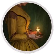Victorian Woman Holding A Candle Round Beach Towel