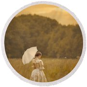 Victorian Woman In A Summer Meadow Round Beach Towel