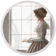 Victorian Woman In Profile At A Window Round Beach Towel