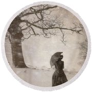 Victorian Woman In Snow Storm Round Beach Towel