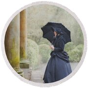Victorian Woman On Stone Steps Round Beach Towel