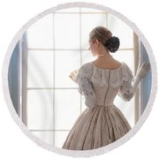 Victorian Woman Standing At The Window Round Beach Towel