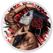 Vidas Angel Round Beach Towel by Pete Tapang