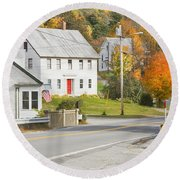 Vienna Maine In Fall Round Beach Towel by Keith Webber Jr
