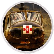 Vietnam Era Medivac 369 Helicopter Round Beach Towel