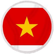 Vietnam Flag Round Beach Towel