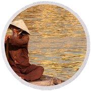 Vietnamese Boatman 01 Round Beach Towel