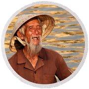 Vietnamese Boatman 02 Round Beach Towel