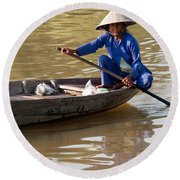Vietnamese Boatwoman 01 Round Beach Towel