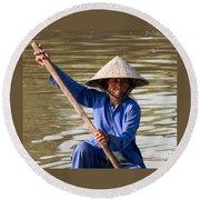 Vietnamese Boatwoman 02 Round Beach Towel