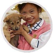 Vietnamese Girl 02 Round Beach Towel