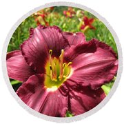 Viette's Daylily. Dark Purple 01 Round Beach Towel