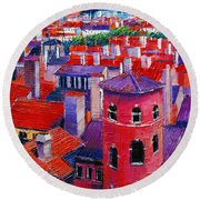 Vieux Lyon Rooftops  Round Beach Towel