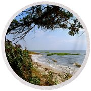 View At East Point  Round Beach Towel
