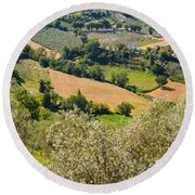 View At Montefalco Round Beach Towel