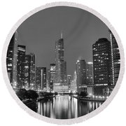 View Down The Chicago River Round Beach Towel