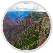 View Five From Walhalla Overlook On North Rim Of Grand Canyon-arizona Round Beach Towel