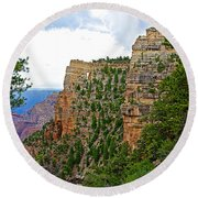 View Four From Walhalla Overlook On North Rim Of Grand Canyon-arizona Round Beach Towel