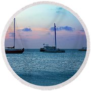 View From A Catamaran3 - Aruba Round Beach Towel