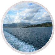 View From A Scottish Ferry Round Beach Towel