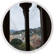 View From A Window Round Beach Towel
