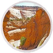 View From Above Capitol Gorge Pioneer Trail In Capitol Reef National Park-utah Round Beach Towel