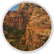 View From Angel's Landing 2 Round Beach Towel